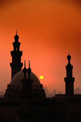 Mosques And Sunset In Cairo, Egypt Art Print by Glen Allison