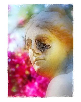 Moth On Statue Art Print by Judi Bagwell