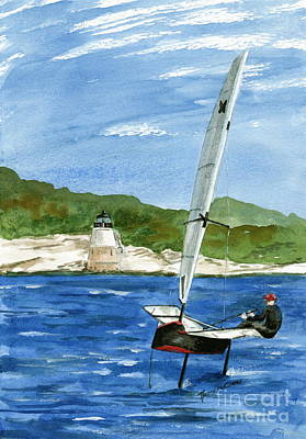Painting - Moth Sailing At Castle Hill Light by Nancy Patterson