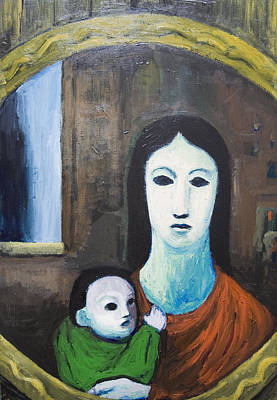 Psychiatric Painting - Mother And A Child In The Mirror by Kazuya Akimoto