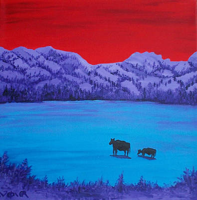 Mother And Calf Print by Randall Weidner