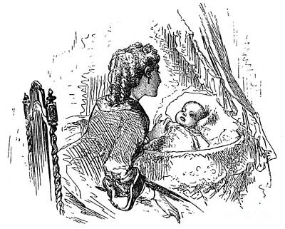 Bassinet Photograph - Mother And Child, 1873 by Granger