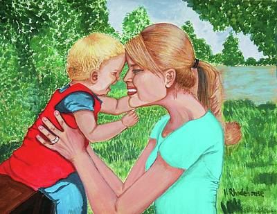 Laugh Painting - Mother And Child Laughing by Victoria Rhodehouse