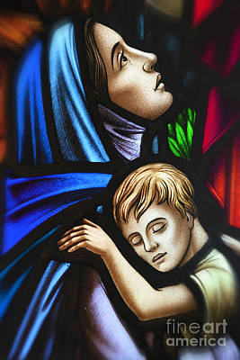 Mother And Child Stained Glass Art Print by Verena Matthew