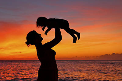 Mother And Child Sunset Silhouette Art Print by Vince Cavataio - Printscapes