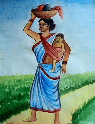 Painting - Mother And Child by Tanmay Singh