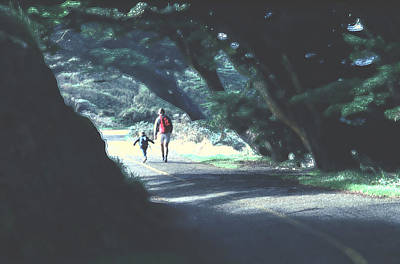 Mother And Child Walking Through Point Reyes Park Art Print by Tom Wurl