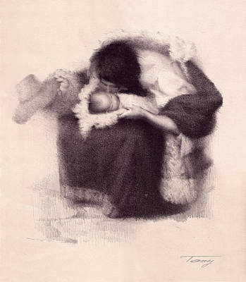 El Amor Painting - Mother And Son 1 by Tony Song