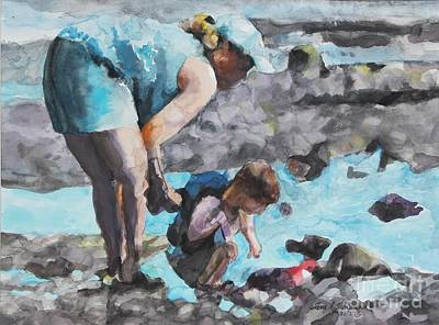 Painting - Mother And Son Discoveries At The Tide Pool by Terri Thompson