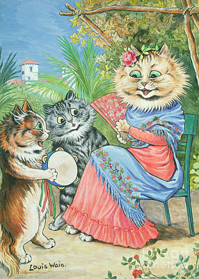 Anthropomorphic Painting - Mother Cat With Fan And Two Kittens by Louis Wain