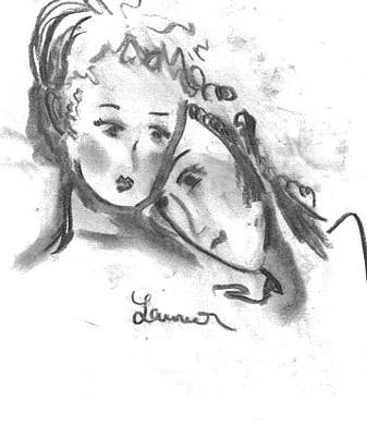 Drawing - Mother Daughter by Laurie L