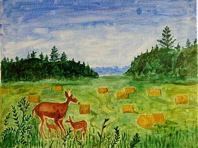 Art Print featuring the painting Mother Deer And Kids by Sonali Gangane