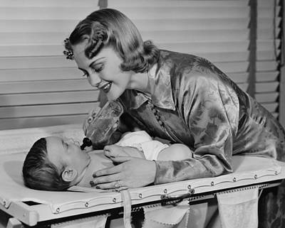 Mother Feeding Baby (3-6 Months) With Baby Bottle, (b&w) Art Print by George Marks