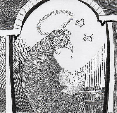 Drawing - Mother Hen With Egg by Phil Burns