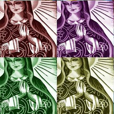 Photograph - Mother Mary Pop Art by Julie Butterworth
