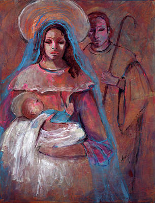 Mother Mary With Joseph And Jesus Baby Art Print by Mary DuCharme