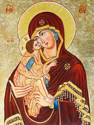 Byzantin Painting - Mother Of God Aft Teophane The Greek by Ion vincent DAnu