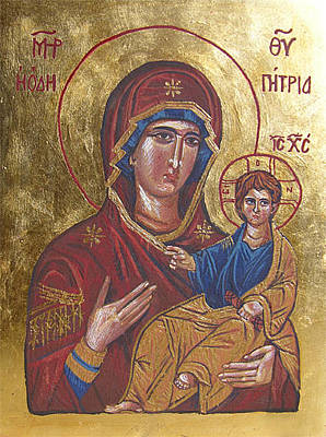 Icon Reproduction Painting - Mother Of God Hodegetria by Karolina Wicha