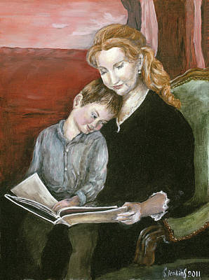 Mother Reading To Son Art Print