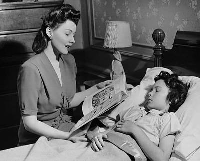 Mother Reads Child A Bedtime Story Art Print by George Marks