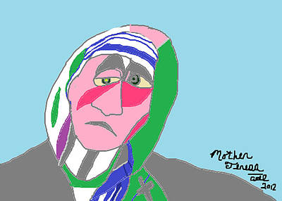 Print featuring the painting Mother Teresa by Anita Dale Livaditis