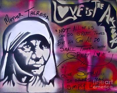 Mother Theresa Painting - Mother Theresa Living Simply by Tony B Conscious