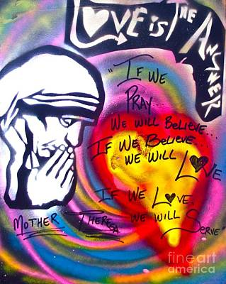 Tony B. Conscious Painting - Mother Theresa Praying by Tony B Conscious