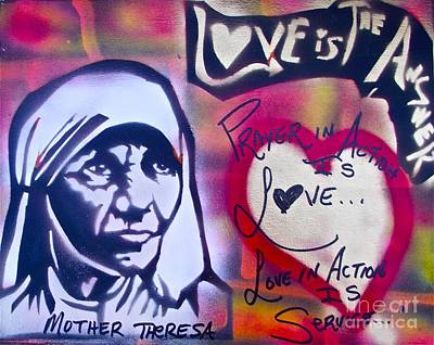 Mother Theresa Painting - Mother Theresa Service by Tony B Conscious