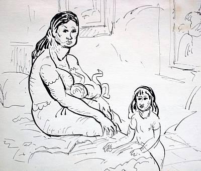 Cabin Window Drawing - Mother With Children by Bill Joseph  Markowski