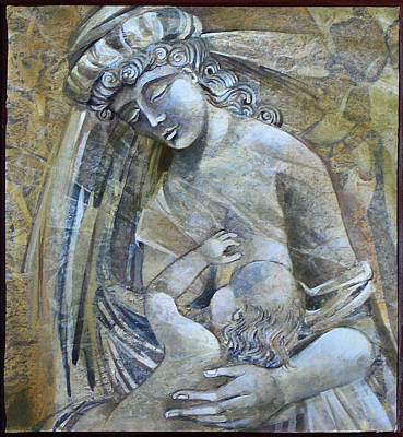 Egg Tempera Painting - Motherhood by Mary jane Miller