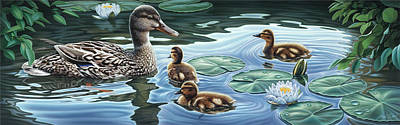 Lilly Pond Painting - Mother's Watchful Eye by Steven Tetlow