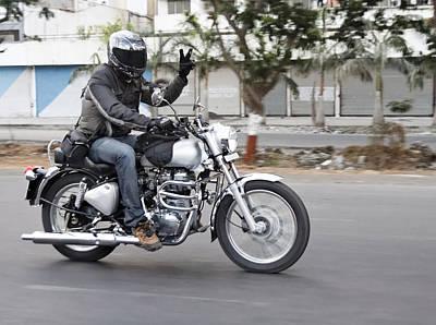 Motorbiker Peace Art Print by Kantilal Patel