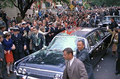 Lyndon Photograph - Motorcade Of President Lyndon Johnson by Everett