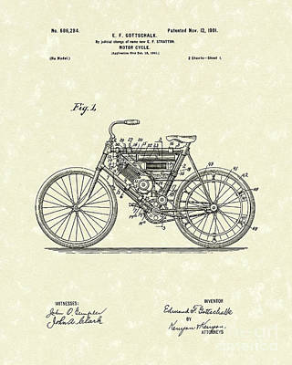 Design Drawing - Motorcycle 1901 Patent Art by Prior Art Design