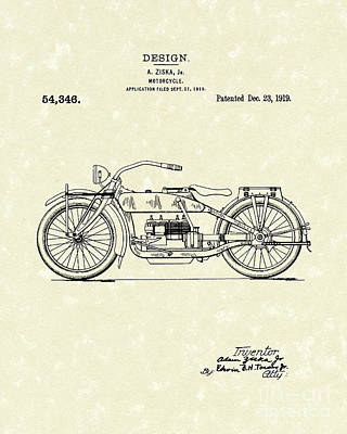 Drawing - Motorcycle Design 1919 Patent Art by Prior Art Design