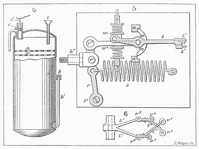 Photograph - Motorcycle Engine, 1894 by Granger