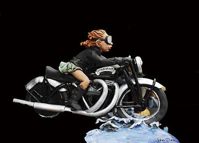 Motorcycle Girl Art Print by Sidney Dumas