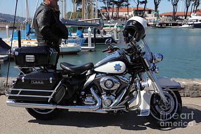 Motorcycle Police At The San Francisco Marina - 5d18266 Art Print