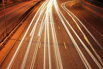 City Street Photograph - Motorway Light Trails by Richard Newstead