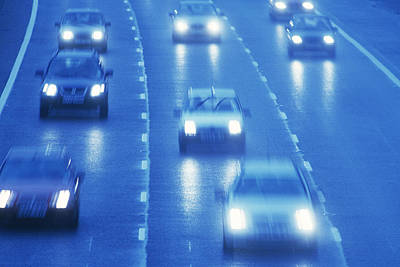 Carriageway Photograph - Motorway Traffic In The Rain by Jeremy Walker