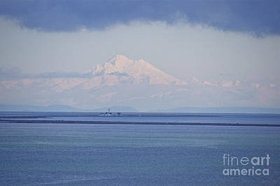 Sean Rights Managed Images - Mount Baker with Dungeness Spit Lighthouse Royalty-Free Image by Sean Griffin