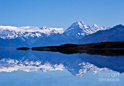 Mount Cook With Reflection Art Print by Avalon Fine Art Photography