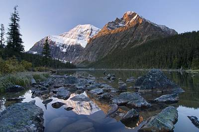 Mount Edith Cavell, Cavell Lake, Jasper Art Print by Philippe Widling