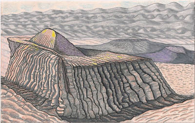The Plateaus Drawing - Mount Methaluna And The Hogarth Plateau On The Plains Of Bumpo by Al Goldfarb