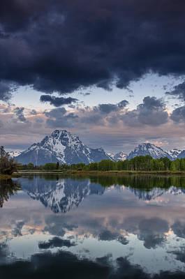 Mount Moran Under Black Cloud Art Print by Greg Nyquist