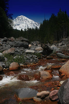 Photograph - Mount Rainier Over Kautz Creek Mount Rainier National Park by Benjamin Dahl