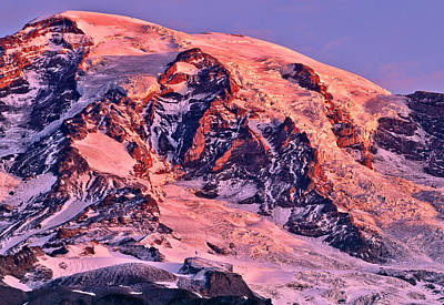 Mount Rainier Red Dawn Alpenglow Detail Art Print by Tim Rayburn
