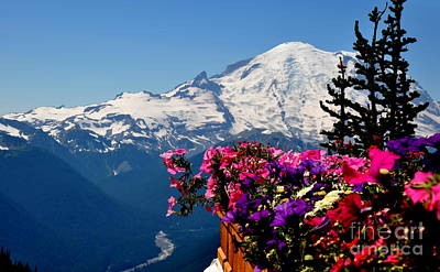 Mount Rainier Seen From Crystal Mountain Summit  3 Art Print by Tanya  Searcy