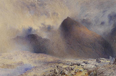 Shrouded Painting - Mount Snowdon Through Clearing Clouds by Alfred William Hunt
