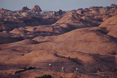 Mountain Bike Riders On Slickrock Trail Art Print